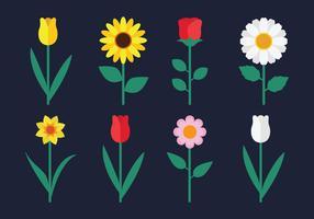 Ensemble de clipart de fleurs vecteur