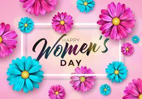 Illustration de vacances internationales avec motif de fleurs sur fond rose vecteur