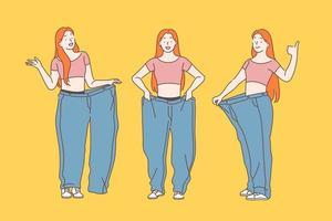 régime, perte de poids, concept minceur. vecteur