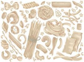pâtes, nouilles, spaghettis, ensemble de griffonnages alimentaires vecteur