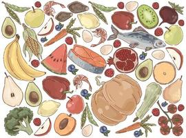 délicieux ensemble de nutrition biologique de nourriture d'été vecteur