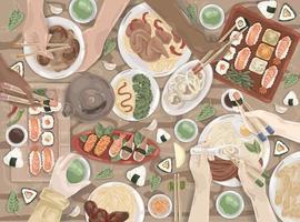 asiatique, cuisine orientale, déjeuner japonais, ensemble de repas en Chine vecteur