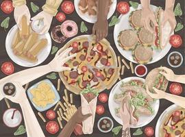 restauration rapide, réunion amicale, célébration, ensemble de déjeuner vecteur
