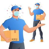 service de livraison de courrier homme dans mask holding box montrant ok vector illustration