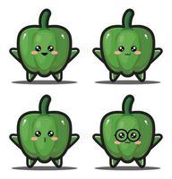 dessin animé mignon paprika légume kawaii design premium vecteur