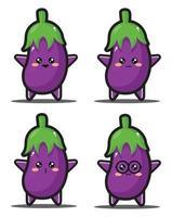 prime de conception de kawaii d'aubergine de dessin animé doux vecteur