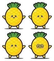 prime de conception kawaii de légumes d'ananas de dessin animé mignon vecteur