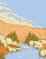 Badger Springs canyon et la rivière agua fria situés dans le monument national agua fria en arizona usa wpa poster art vecteur