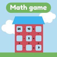 illustration vectorielle. jeu de mathématiques pour les enfants d'âge préscolaire et scolaire. compte et insère les bons nombres. soustraction. maison avec fenêtres. vecteur