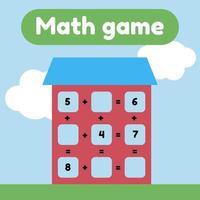 illustration vectorielle. jeu de mathématiques pour les enfants d'âge préscolaire et scolaire. compte et insère les bons nombres. une addition. maison avec fenêtres. vecteur