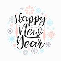 Bonne année lettrage dessins. vecteur