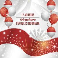 fond de fête de l'indépendance de l'indonésie avec composition de ballons vecteur
