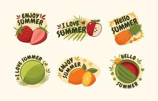 icône de fruits amusants d'été vecteur