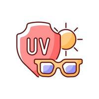 icône de couleur rvb de lunettes de soleil. lunettes pour la protection des yeux contre les rayons uv. prévenir l'exposition au soleil et les dommages ultraviolets pendant la chaleur. illustration vectorielle isolée. dessin au trait rempli simple coup de chaleur vecteur