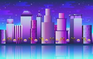 paysage urbain avec modèle de fond de bâtiments vecteur