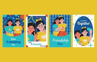 ensemble de modèles de carte de fête de l'amitié heureuse vecteur