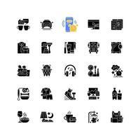 icônes de glyphe noir de routine quotidienne sur un espace blanc. réveil. pause café. transport pour se rendre au travail, à l'école. tous les jours matin et soir. symboles de silhouette. illustration vectorielle isolée vecteur