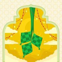 riz ketupat dans un cadre avec porte de mosquée et étoiles autour vecteur