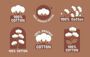 collection de logos d'étiquettes en coton biologique vecteur