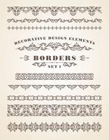 Frontières d'ornements de vecteur. Éléments de design décoratifs. vecteur
