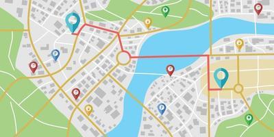 navigation fictive sur la carte de la ville avec les rivières et les parcs. vecteur