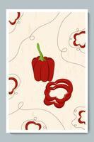 affiche d'anneaux tranchés au poivron et au paprika. légumes minimalistes avec des morceaux, des lignes de décor et une texture de fond. vecteur