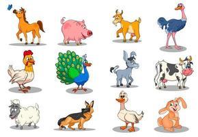 personnages d'animaux de ferme grand ensemble d'animaux ruraux de dessins animés vecteur