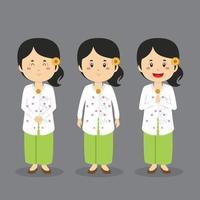 caractère indonésien de bali avec diverses expressions vecteur
