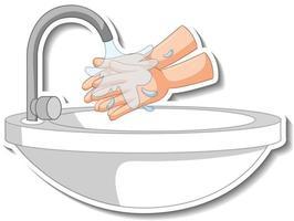 un modèle d'autocollant de mains avec évier d'eau isolé vecteur