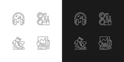 icônes linéaires de routine des employés de bureau de tous les jours définies pour les modes sombre et clair. écouter de la musique au casque. symboles de ligne mince personnalisables. illustrations de contour de vecteur isolé. trait modifiable