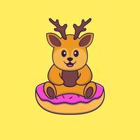le cerf mignon est assis sur des beignets. concept de dessin animé animal isolé. peut être utilisé pour un t-shirt, une carte de voeux, une carte d'invitation ou une mascotte. style cartoon plat vecteur