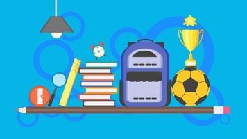 retour à l'arrière-plan de l'affiche de l'école. concept de bannière d'apprentissage avec sac à dos, pile de livres, ballon de football, crayon, trophée, règle et article d'éducation. illustration vectorielle design plat. vecteur