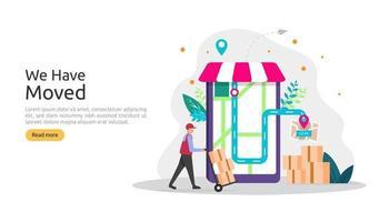 nouvelle entreprise d'annonce d'emplacement ou changement de concept d'adresse de bureau. nous avons déplacé l'illustration vectorielle pour le modèle de page de destination, l'application mobile, l'affiche, la bannière, le dépliant, l'interface utilisateur, le Web et l'arrière-plan vecteur
