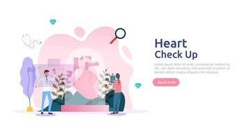 santé cardiaque, maladie, concept de cardiologie avec caractère. symptômes d'hypertension cholestérol mesure de la pression artérielle. services de contrôle médical d'examen médical pour les soins de santé et la transplantation vecteur
