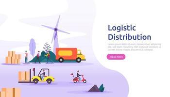 concept d'illustration de service de distribution logistique mondiale. livraison dans le monde entier bannière d'expédition d'import-export avec personnage pour page de destination Web, présentation, médias sociaux, affiches ou imprimés vecteur