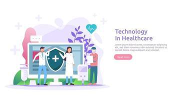 concept de services de santé de télémédecine. traitement de consultation en ligne avec un médecin à l'aide de l'application. technologie innovante de diagnostic médical. illustration vectorielle à plat pour la page Web et le site Web mobile vecteur