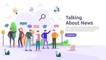 groupe de personnes parle et discute du concept de nouvelles. réseau social discuter des bulles de dialogue pour la conception Web, la bannière, l'application mobile, la page de destination, la conception vectorielle à plat vecteur