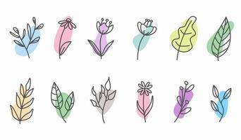 éléments floraux doodle dessinés à la main. thème du printemps et de l'été. vecteur botanique de fleurs et de plantes en dessin au trait ou en style de contour. peut être utilisé pour l'icône de couverture de l'histoire des médias sociaux