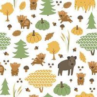 la famille des sangliers est dans le modèle sans couture de la forêt. porc d'automne, les petits porcelets sont heureux. illustration vectorielle enfantine de feuilles dessinées à la main, gland, citrouille, champignons, arbres de Noël vecteur