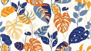 papier peint art déco forêt tropicale. motif floral avec des fleurs et des feuilles exotiques, plante de philodendron à feuilles fendues, plante monstera, dessin au trait de plantes de la jungle sur fond tendance. illustration vectorielle. vecteur