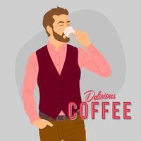 homme tenant du café chaud, buvant du café frais vecteur