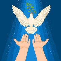 colombe de la paix et rameau d'olivier vecteur