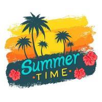 fond tropical d'été avec palmiers et coucher de soleil vecteur