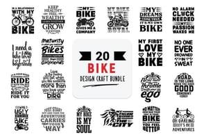 bundle de conception artisanale avec des citations de lettrage de vélo. vecteur