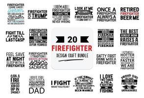 bundle de conception artisanale avec des citations de lettrage de pompier. vecteur