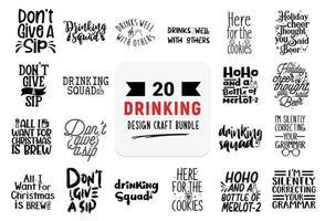 bundle de conception artisanale avec des citations de lettrage à boire. vecteur