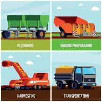 La production de pommes de terre design plat concept vector illustration