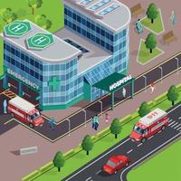 Pavillon de la clinique composition isométrique vector illustration