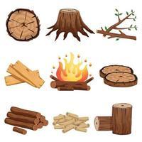 éléments de bois de chauffage mis en illustration vectorielle vecteur
