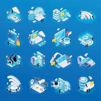 technologie sans fil icônes isométriques vector illustration